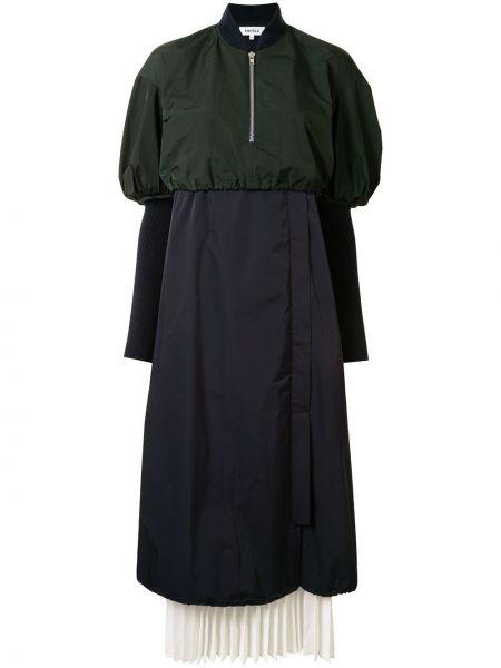 Z rękawami prosto zielony sukienka mini z kołnierzem Enfold