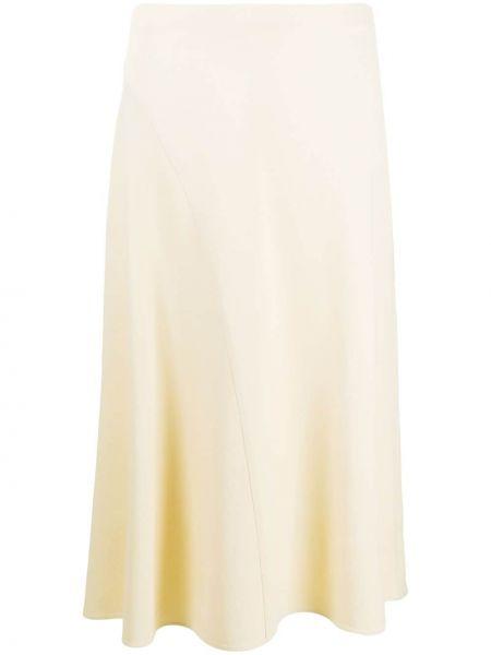 Прямая с завышенной талией юбка со складками из вискозы Vince.