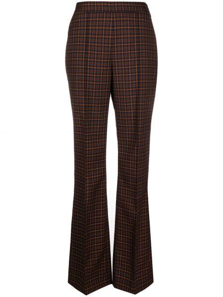 Брючные коричневые брюки с карманами из вискозы Temperley London