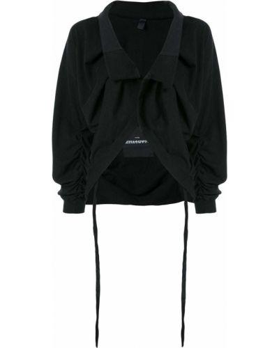 Черная длинная куртка с манжетами Aganovich