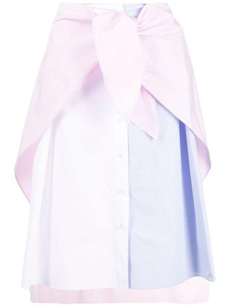 Хлопковое с завышенной талией белое платье миди Maison Kitsuné