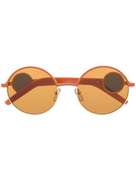 Муслиновые солнцезащитные очки круглые хаки Marni Eyewear