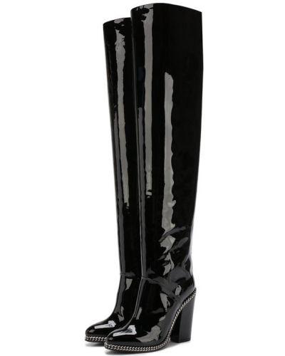Кожаные сапоги на каблуке лаковые Balmain
