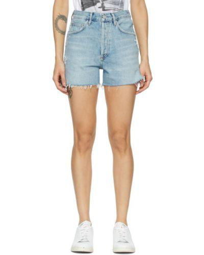 Niebieski dżinsowe szorty z paskiem przycięte Agolde