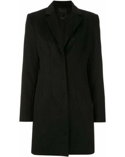 Черное длинное пальто с капюшоном Alcaçuz