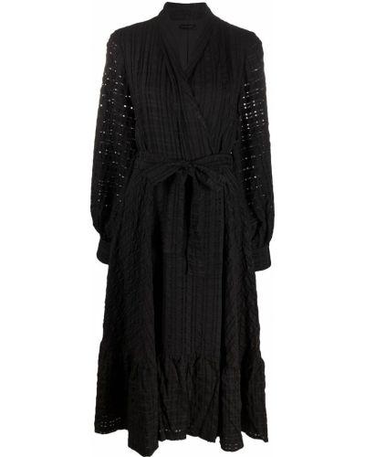 Черное платье миди с запахом с вышивкой с V-образным вырезом Stine Goya