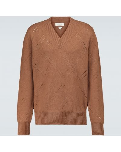 Brązowy sweter wełniany z dekoltem w serek Rochas