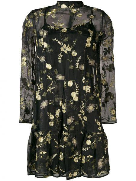 Платье мини с цветочным принтом с прозрачными рукавами Erdem
