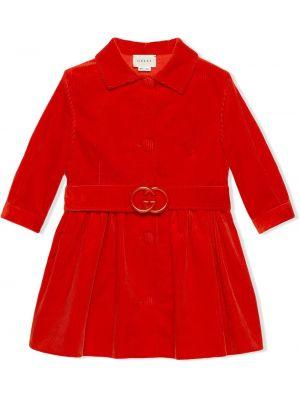 Красное длинное пальто с воротником с поясом Gucci Kids