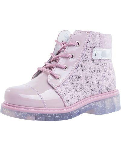 Розовые кожаные ботинки котофей
