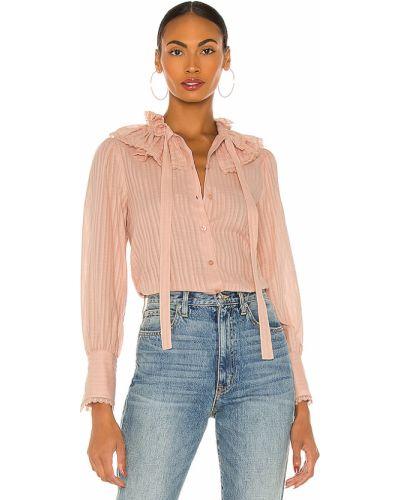 Różowy bluzka z dekoltem zapinane na guziki z mankietami See By Chloe