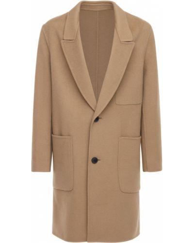 Wełniany płaszcz z kieszeniami z łatami Ami Alexandre Mattiussi