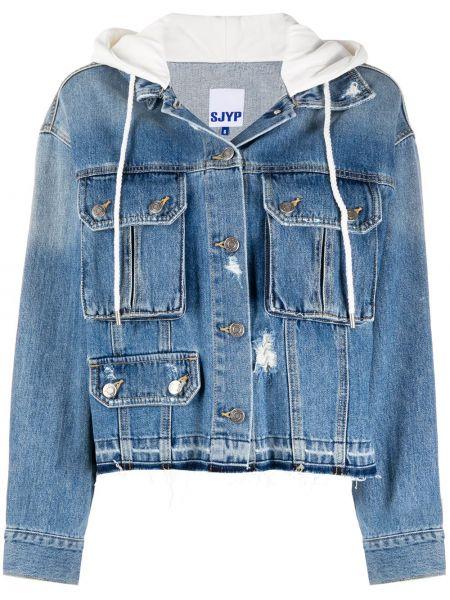 Ватная синяя джинсовая куртка с капюшоном Sjyp