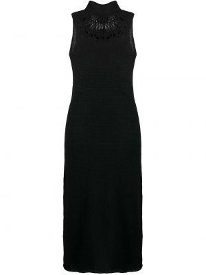 Шелковое вязаное черное платье Yohji Yamamoto
