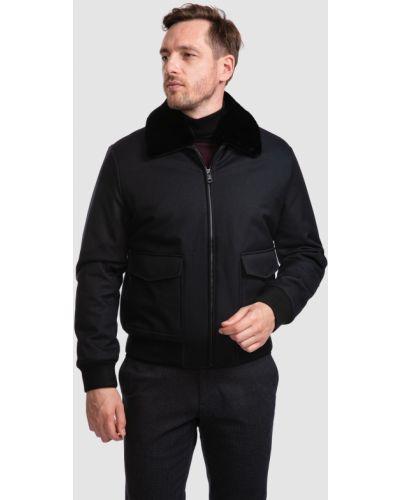 Трикотажная черная куртка-пилот на резинке Kanzler