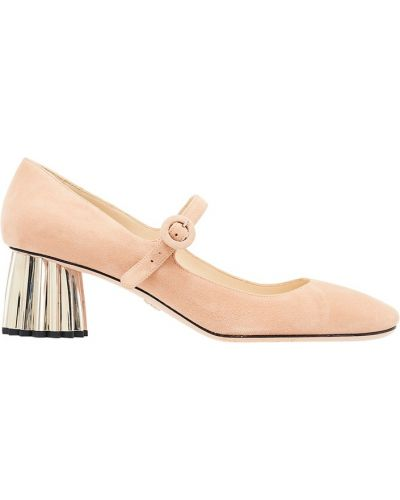 Кожаные туфли на каблуке замшевые Prada