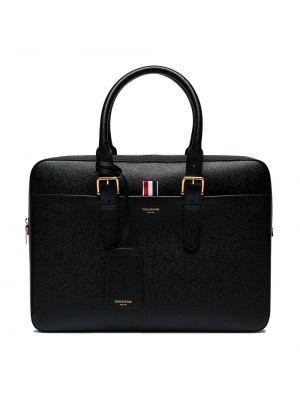 Кожаный черный чемодан Thom Browne