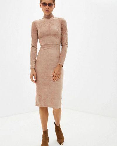 Кожаное бежевое платье Gepur