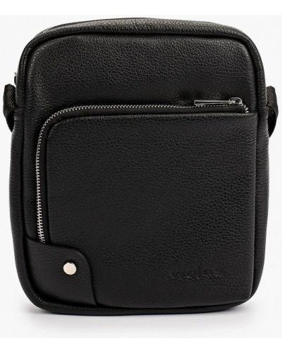 Черная кожаная сумка через плечо Wojas