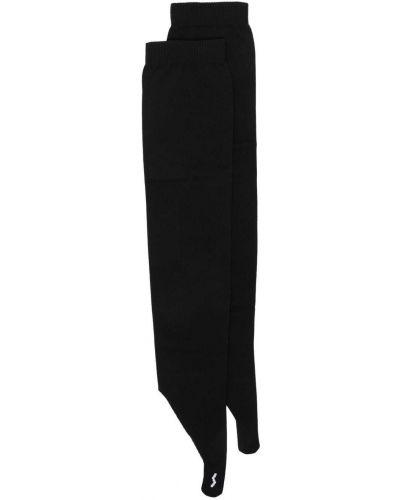 Prążkowane czarne rękawiczki bez palców z printem Ssheena