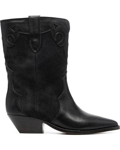 Кожаные черные слипы на каблуке Isabel Marant