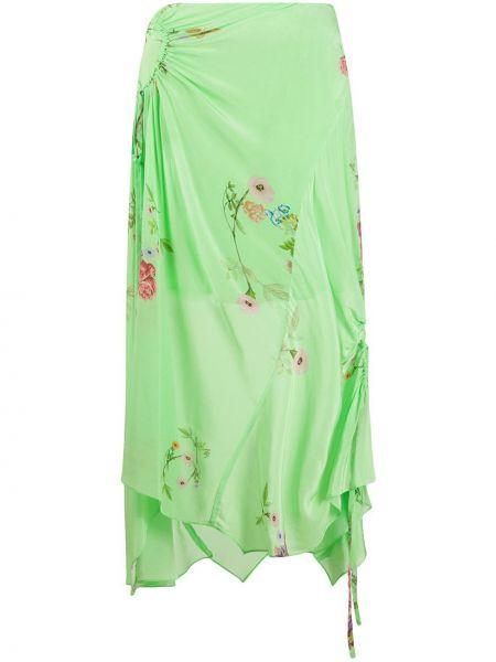 Зеленая асимметричная юбка на молнии из вискозы Preen Line