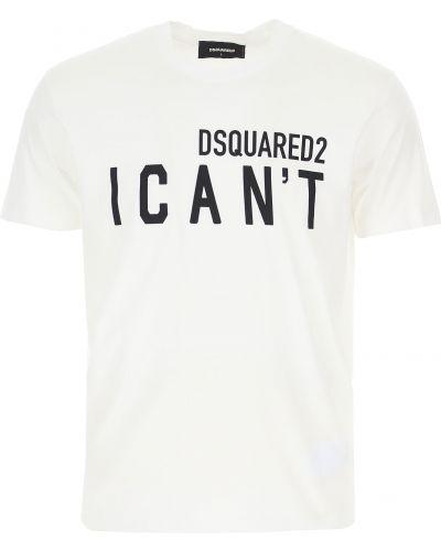 Biała koszulka krótki rękaw Dsquared