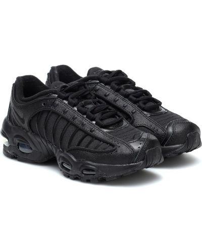 Miękki skórzany czarny sneakersy bezpłatne cięcie Nike Kids