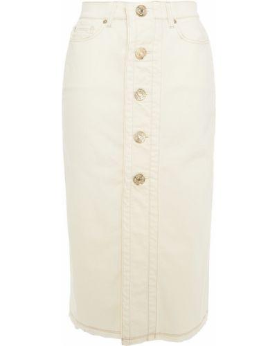 Хлопковая синяя джинсовая юбка с поясом 7 For All Mankind