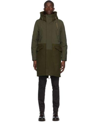 Wełniany pikowana płaszcz z kieszeniami z mankietami khaki Herno