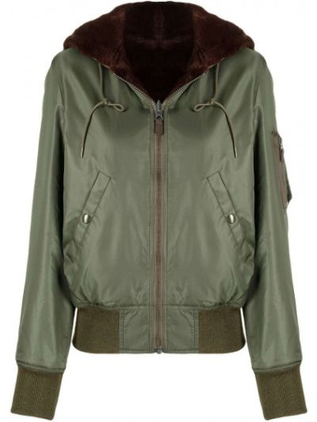Зеленая куртка с капюшоном на молнии R13