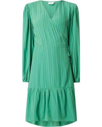 Zielona sukienka mini rozkloszowana z falbanami Moves