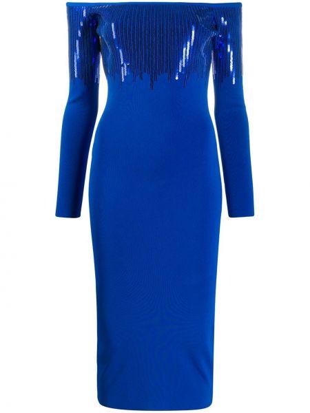 Синее приталенное платье миди с пайетками на молнии David Koma