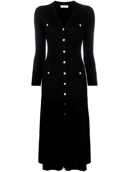 Вязаное черное платье макси с длинными рукавами с V-образным вырезом Sandro Paris