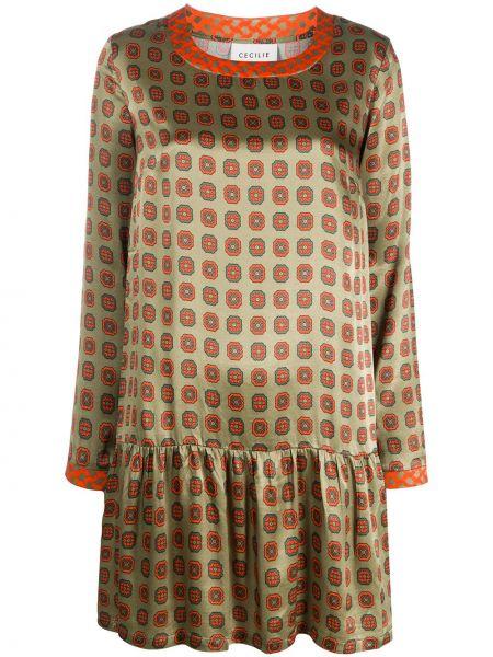 Зеленое платье мини с оборками свободного кроя с вырезом Cecilie Copenhagen