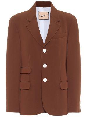 Однобортный коричневый пиджак из вискозы Plan C