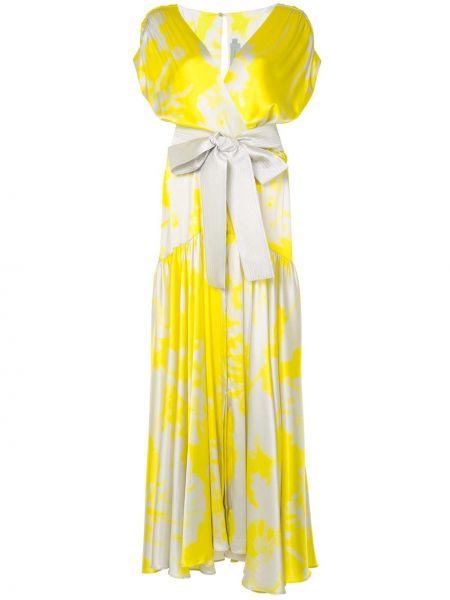 Желтое расклешенное платье мини с V-образным вырезом на пуговицах Silvia Tcherassi