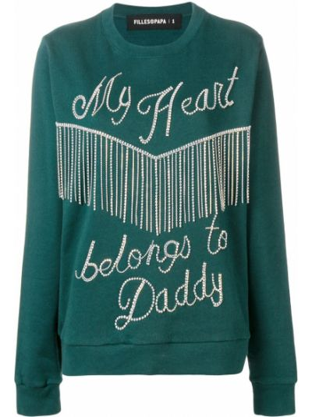 Zielona bluza z haftem bawełniana Filles A Papa