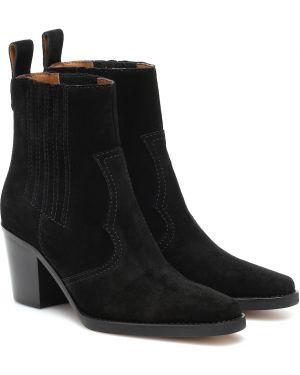 Kowboj buty zamszowe Ganni