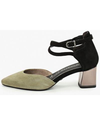 Велюровые зеленые туфли Tamaris