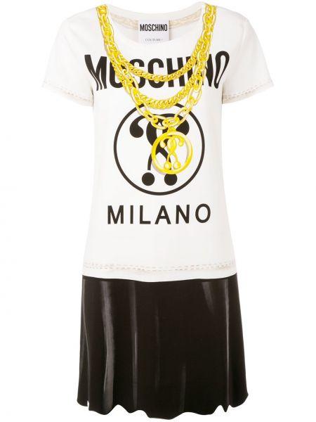 Biały t-shirt z wiskozy z printem Moschino