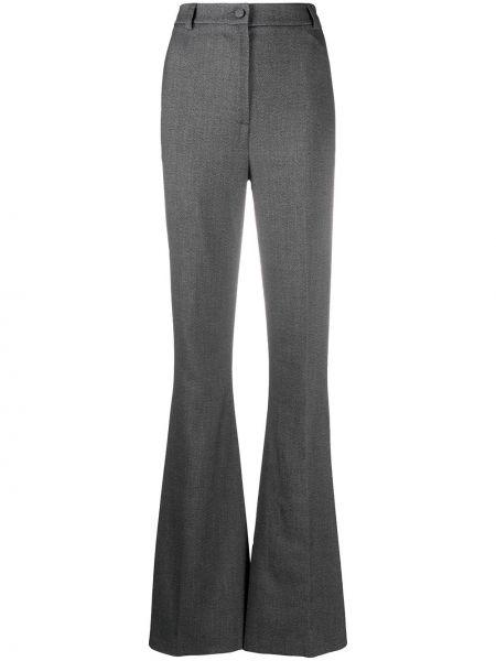 Черные расклешенные брюки из вискозы с потайной застежкой Hebe Studio