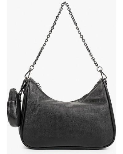 Черная сумка с ручками из натуральной кожи Valensiy