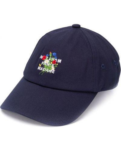 Niebieska czapka z haftem bawełniana Drole De Monsieur