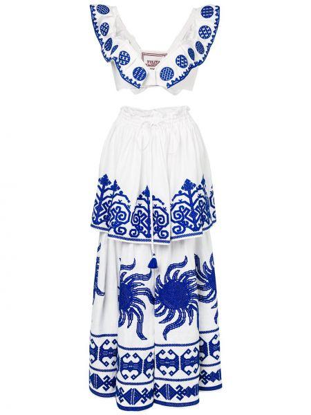 Белое льняное платье с вырезом эластичное Yuliya Magdych