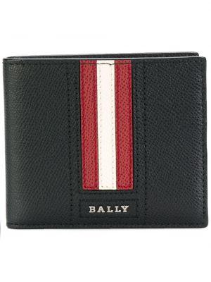 Czarny skórzany portfel w paski Bally