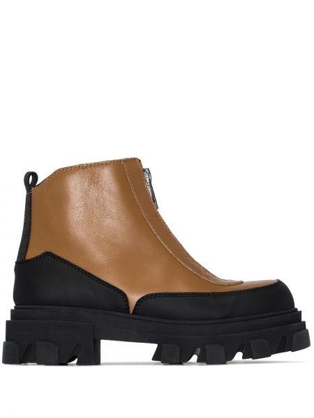 Коричневые кожаные ботинки на платформе Ganni