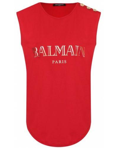 Красный топ с логотипом Balmain