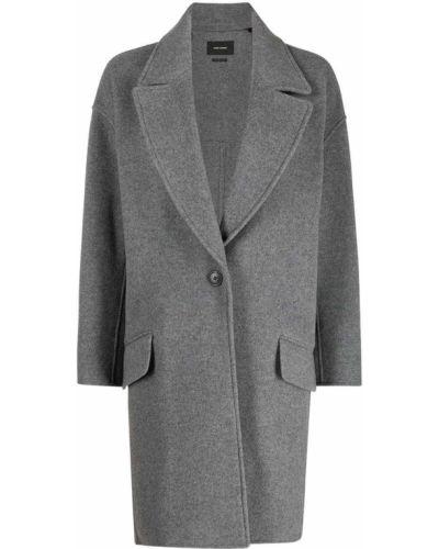 Однобортное серое шерстяное длинное пальто Isabel Marant