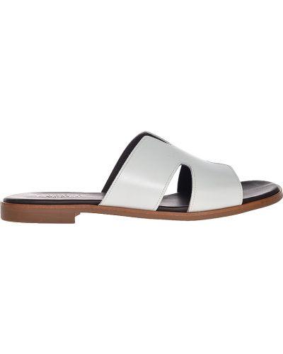 Шлепанцы на каблуке белые Pertini